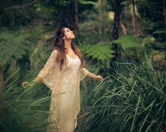 50% Deposit, Angel Lace Bohemian Beaded Bridal Kaftan Dress with Slip Dress, Gypsy Wedding Dress