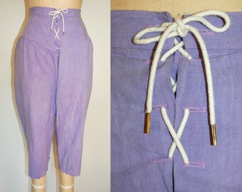 Ankle Pants Small.  Vintage 80s Purple Lace Up Ankle Pants with Slight Acid Wash.  S