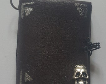 Handmade miniature book brown with clasp & skull. miniature book charm journal/ spell book/ diary