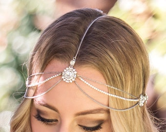 Bohemian Wedding Hair Accessories, Silver Bridal Headpiece, Wedding Headpiece, Bohemian Headpiece, Silver Bridal Headpiece, Prom Hair, H220S