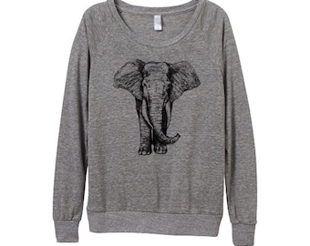 Elephant Top - Women top - Ladies Longsleeve - Womens Elephant - Small, Medium, Large, Extra Large (3 Color Options)