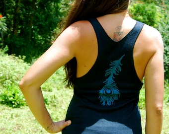 Yoga Layering Racerback Tank Top for Women - Peacock Feather - Black Hemp Organic Cotton Jersey -  Organic Clothing