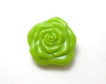 6 Large Lime Green Flower Beads acrylic 30MM (H630)