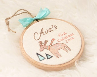 Soft Pink Deer Ornament, Baby's First Christmas, Embroidery Personalized Tree Ornament, Christmas Hoop Art, Deer First Xmas
