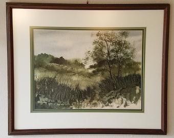 Framed Original Watercolor Landscape Painting
