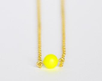 Bright neon yellow Swarovski pearl delicate minimal necklace on gold chain