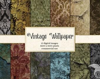 Vintage Wallpaper Digital Paper, vintage damask patterns, printable scrapbook paper, antique grunge distressed peeling paint digital paper