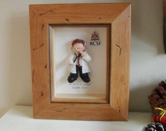 PERSONALISED DOCTOR GIFT, Surgeon, Male Framed Polymer Clay Characters,  Retirement, Promotion, Birthdays M or F
