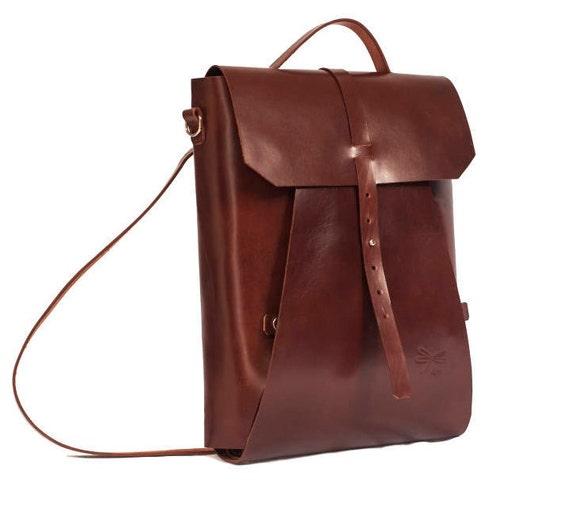 Leather backpack - Leather briefcase - Vintage - Office bag - Ludena - Leather bag backpack for laptop - Laptop backpack