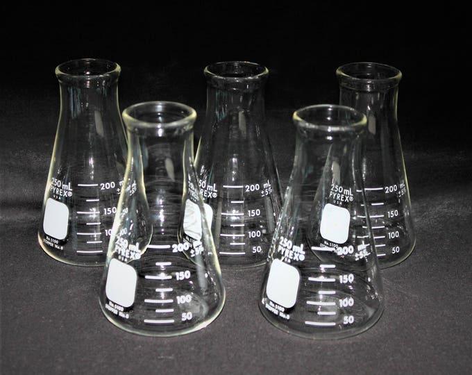 Vintage 250mL Pyrex Erlenmeyer Flasks, Pyrex #5100-250