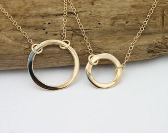 14k Solid Gold Circle Necklace. 14k Gold Karma Necklace. 14k Gold Open Circle Necklace. Gold Circle Pendant Necklace. Gold Pendant Necklace