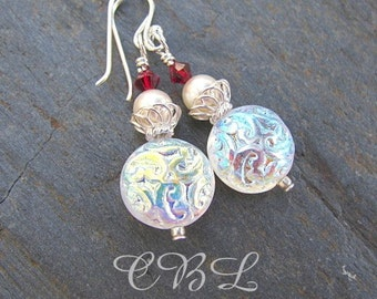 White Iridescent Glass Brocade Beads and Red Crystal Earrings