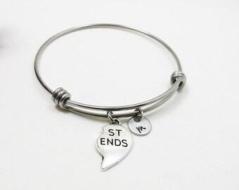 Best Friends Bracelet Bangle - Best Friend Heart Charm - Friendship Charm Bracelet - Initial Bracelet - Personalized Gift - Custom Bracelet