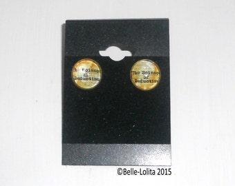 Vintage Sherlock Quote 12mm Stud Glass Cabochan Earrings
