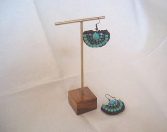 5 pcs. #GOLD COLOR Earrings Display on teak wood base #JewelryDisplays #GoldEarringDisplay #GoldJewelryDisplays.
