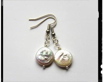 Mother of pearl flat beaded earrings