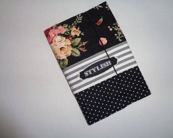Book printed cotton polka dot and striped linen for a notebook 10x14.5 cm