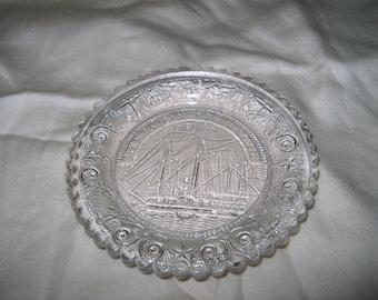 Vintage Glass Cup Plate, Benjamin Franklin, BF,  Ship