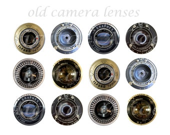 VINTAGE CAMERA LENSES Craft Circles - Photography Cameras - Instant Download Digital Printable  -Bottlecaps Magnets Collage Sheet