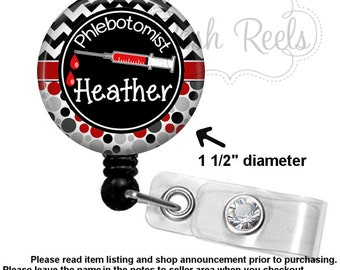 Phlebotomist Badge Holder - Personalized Phlebotomist Badge Reel - Choice of Badge Reel,  Stethoscope ID Tag, Carabiner or Lanyard  - 1169