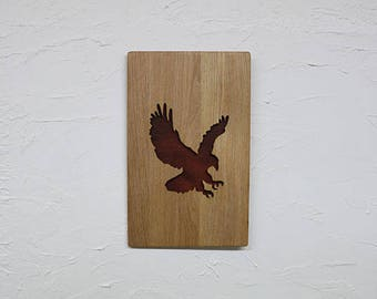 Wooden Recessed Eagle backed with Leather