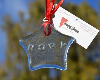 Personalised decoration - Personalised - Holiday Decoration - Personalised star- Fused glass star - holiday decoration - Christmas gift