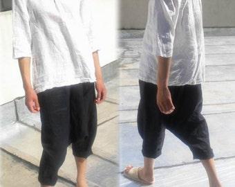 004---Loose Drop Crotch Linen Harem Pants, Sarouel Pants, Japanese Style Linen Trousers , Yoga Pants, Fisherman Pants, Linen Cropped Pants.