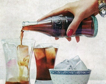 Coca Cola Ads- 4 Midcentury Advertising- Instant Collection 50s 60s 7x10