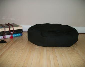 """Zafu Meditation Cushion. Floor pillow. Black PolyCotton Diversitex Twill. 15x5. 6"""" L. Sidewall Zipper. Buckwheat Hulls. Handmade, USA"""