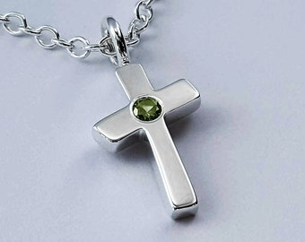 Sterling Silver Peridot Cross Necklace Pendant - Sterling Cross Necklace, Sterling Silver Cross Pendant, Sterling Silver Cross Necklace