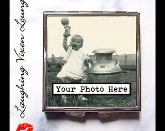 Personalized Pill Box - Custom Compact Mirror - Personalized Gift - Custom Photo - Pill Case - Bag Mirror - Pill Holder - Travel Mirror