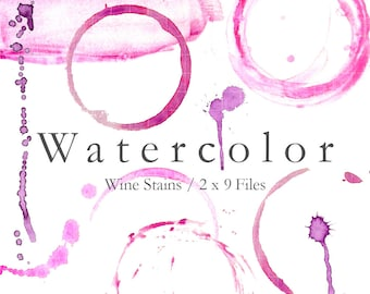 WATERCOLOR WINE STAINS - 9 Wine Stain Digital Files. Includes Rings, Drips, Stain in 300dpi jpg and png.