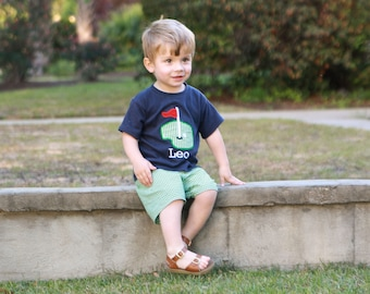 Toddler Boys Clothes - Toddler Golf Outfit - Boys Golf Outfit - Kids Appliqued T-Shirt - Green Gingham Shorts - Boy Toddler Summer Clothes