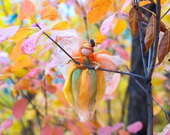 Waldorf fairy, decoration Needle felted, autumn fairy, seasonal, nature table