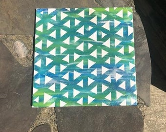 Blue/ Green Triangle Painting