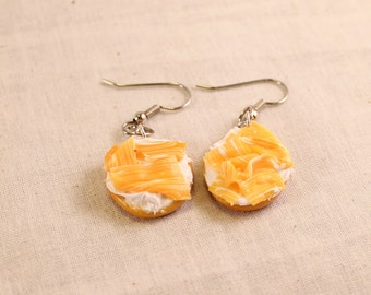 Lox Salmon and Cream Cheese Bagel Earrings Polymer Clay