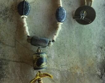 Handmade LAVA Lights Necklace by Susan Ray, Lampwork and Tibetan Prayer Roll