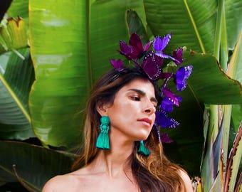Violet Cosmos Butterfly Fascinator, Purple Headdress, Statement Headpiece, Headband, Purple Floral Crown, Spring Headdress