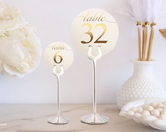 Circle Double Sided Gold Foil Wedding Table Number Signs, Golden Print Numbers Double Sided Circle Table Cards, Tented Table Decor