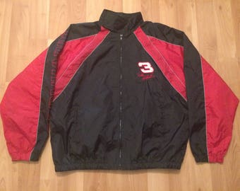 Large 90's Dale Earnhardt windbreaker jacket men's vintage Winners Circle 1990's NASCAR red back Sr. car racing 3 The Indimidator
