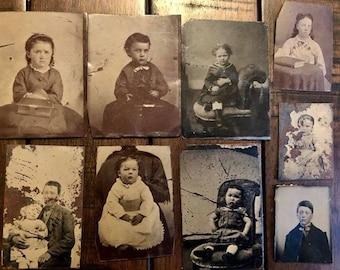 Antique Tintype Photo Lot - Children including Post Mortem