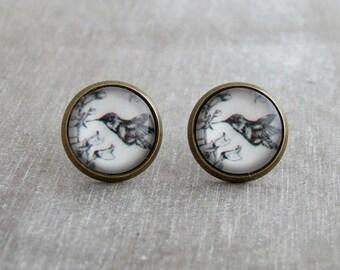 Hummingbird Earrings .. bird earrings, monochrome, illustration