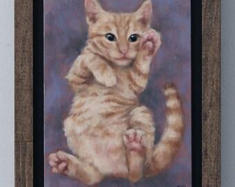 Kitten Painting Original Art Oil Painting Framed Wall Art by Sarah Becktel