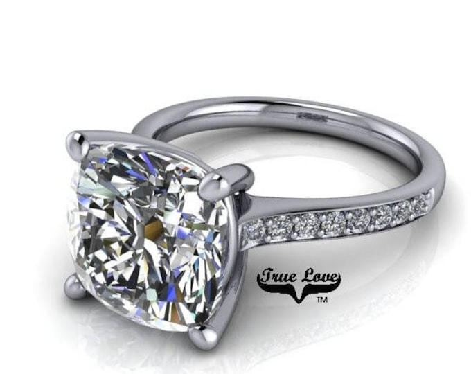 Featured listing image: 2,3 & 5 Carat Moissanite Engagement Ring Trek Quality #1 D-E-F or G-H Color VVS Clarity as Listed cushion Cut 14kt W Gold, Wedding Ring#8318