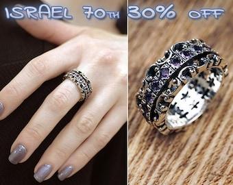 Sterling Silver Gemstone Spinner Ring - Silver Fidget Ring - Meditation Ring - Nature Ring - Flower Ring - Wide band ring - Amethyst Ring