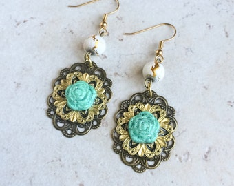 Mexican Turquoise Clay Earrings, Blue Southwestern Flower Earrings, Brass Gold Flower Earrings