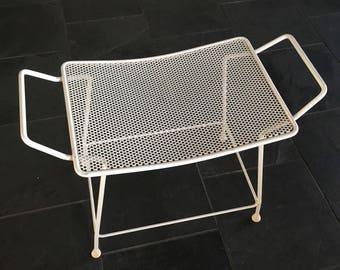 Sleek Punched Metal Bench in White, Vintage