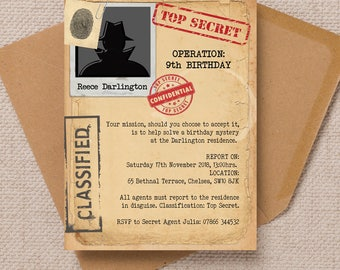 Personalised Spy Mission / Secret Agent Party Invitation Cards and Envelopes