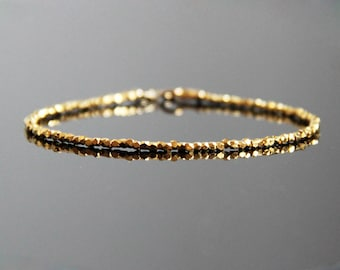 Gold Stack Bracelet - Gold Beaded Bracelet, Minimalist Bracelet Gold, Gold Bracelet, Stacking Bracelet gold, Layering Gold Bracelets
