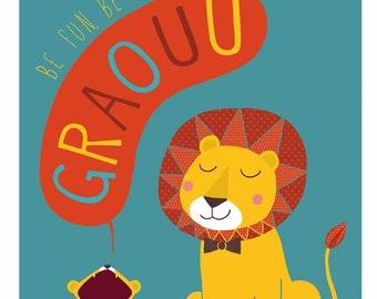 Displays customizable Lion - Child's room Decoration - birth gift